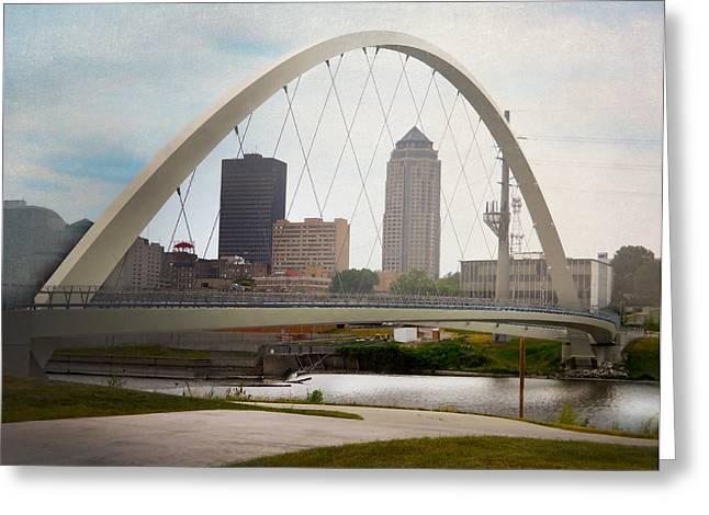 Pedestrian Bridge Greeting Card by Judy Hall-Folde