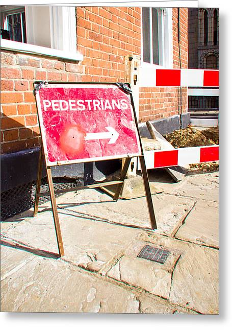 Pedestrian Sign Greeting Card by Tom Gowanlock