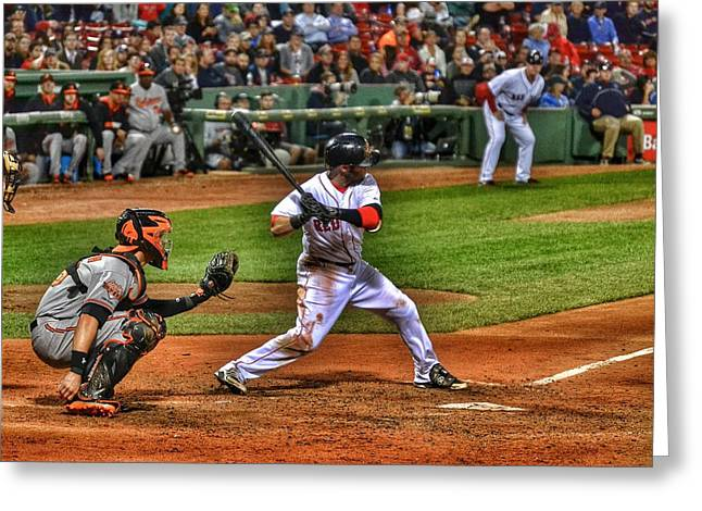 Pedroia At Bat Greeting Card by SoxyGal Photography