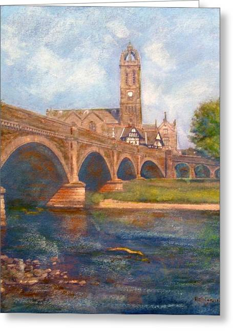 Peebles  Bridge Inn And Parish Church Greeting Card