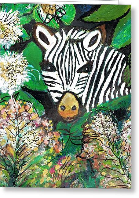 Peek-a-boo Zebra Greeting Card by Anne-Elizabeth Whiteway