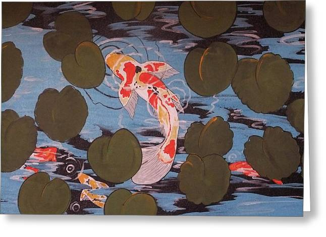 Greeting Card featuring the painting Peeking Koi by Cindy Micklos