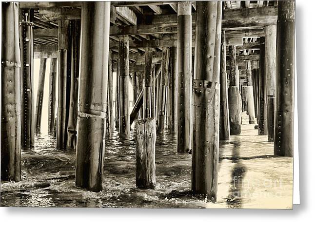 Peeking Under The Pier By Diana Sainz Greeting Card