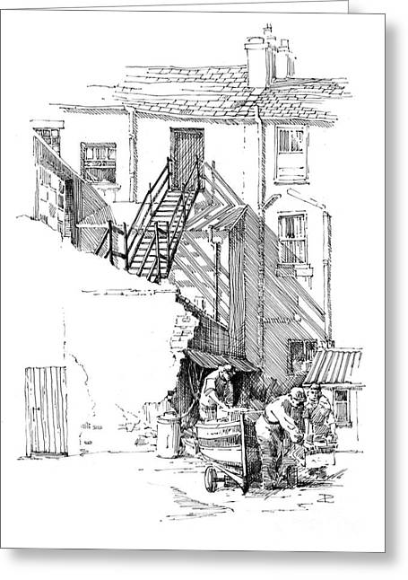 Greeting Card featuring the drawing Peel Back Street by Paul Davenport