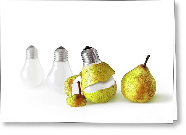 Peeled Bulb Greeting Card by Carlos Caetano