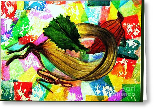 Peeling Back The Layers Greeting Card by Hazel Holland