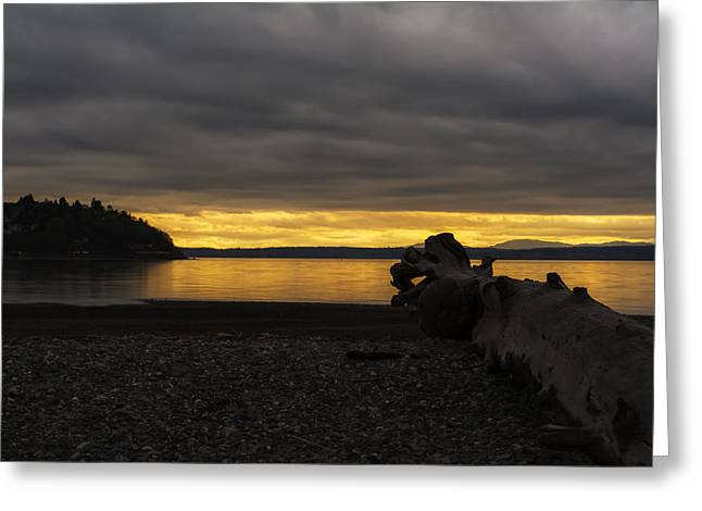 Peephole Sunset Greeting Card by Michael DeMello