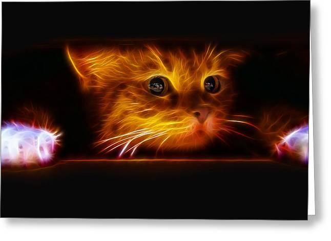 Peeping At The Fireplace Greeting Card by Tilly Williams