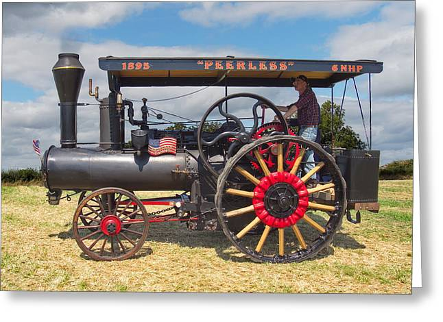 Greeting Card featuring the digital art Peerless Steam Traction Engine by Paul Gulliver