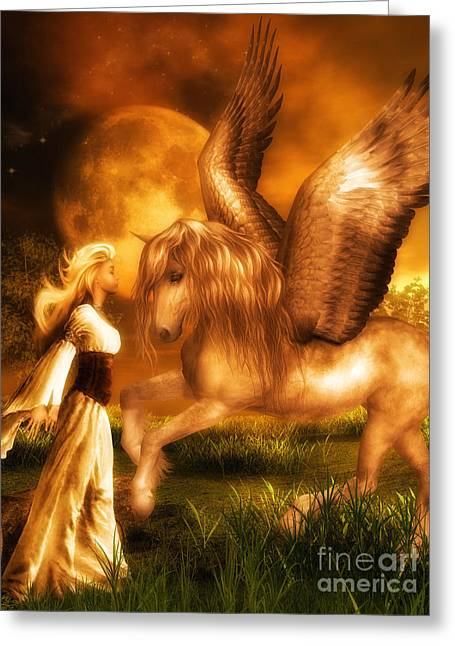 Pegasus And The Maiden Greeting Card by Putterhug  Studio