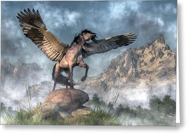 Pegasus Greeting Card by Daniel Eskridge
