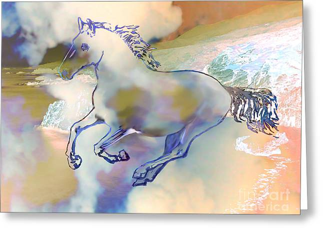Greeting Card featuring the painting Pegasus by Ursula Freer