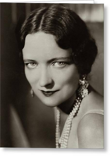 Peggy Wood Wearing A Pearl Necklace Greeting Card by Florence Vandamm