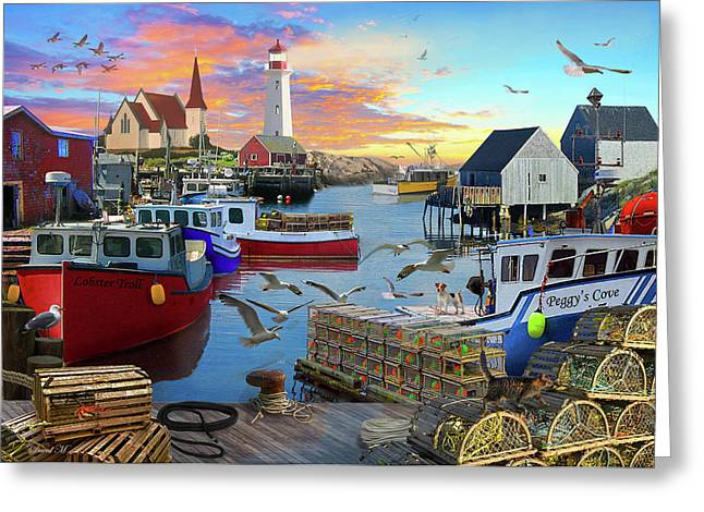 Greeting Card featuring the drawing Peggys Cove by David M ( Maclean )