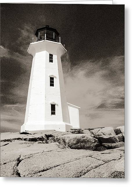 Peggy's Cove Lighthouse Greeting Card by Arkady Kunysz