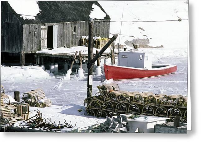 Peggy's Cove Nova Scotia Canada In Winter Greeting Card