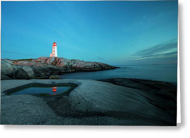 Peggys Point Lighthouse Illuminates Greeting Card