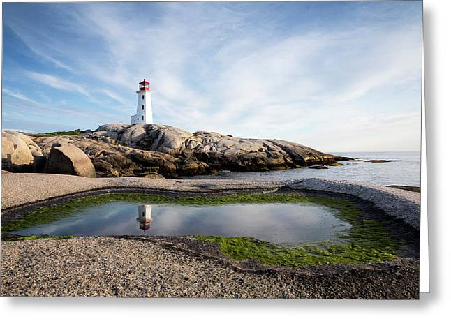 Peggys Point Lighthouse Is Reflected Greeting Card