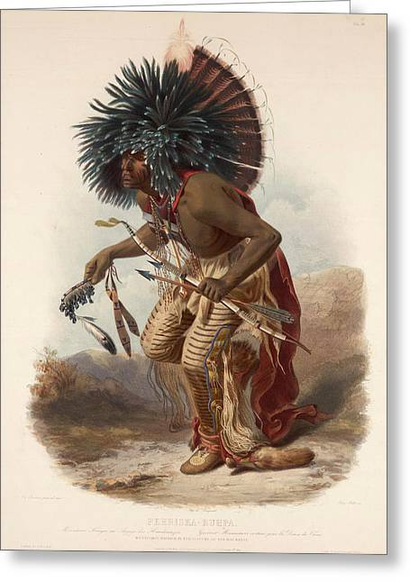 Pehriska Ruppa In The Costume Of The Dog-band Greeting Card by Karl Bodmer