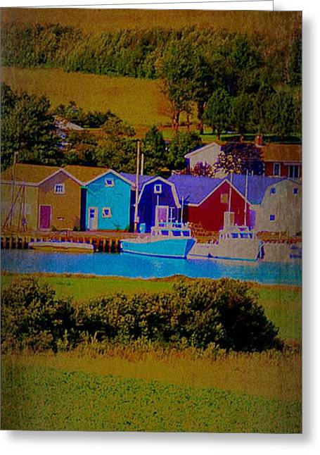 Pei Canada Landscape Photograph Boats At Harbour Greeting Card by Laura Carter