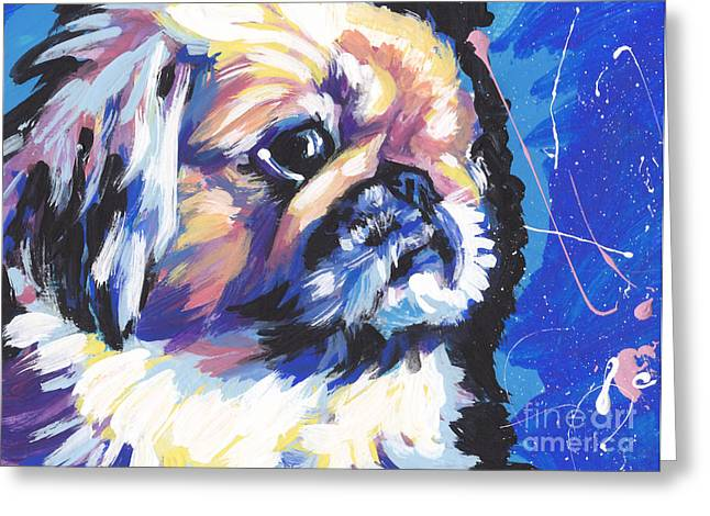 Peke A Boo Greeting Card by Lea S