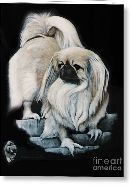 Greeting Card featuring the painting Pekingnese by DiDi Higginbotham