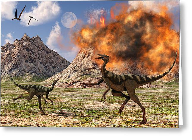 Pelecanimimus Dinosaurs Fleeing Greeting Card by Mark Stevenson