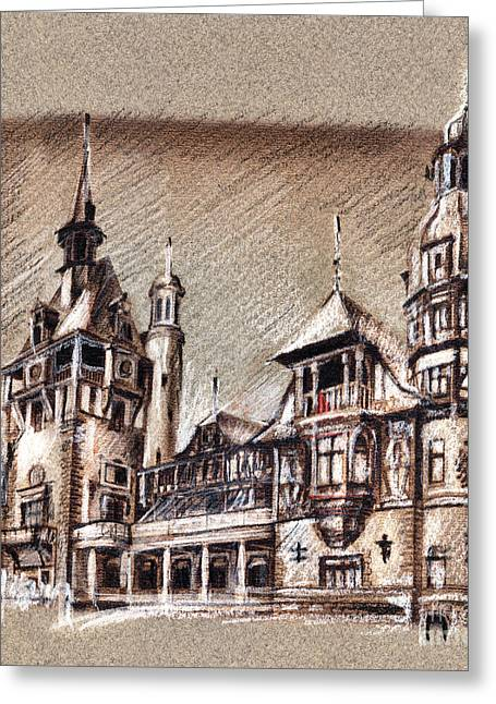 Peles Castle Romania Drawing Greeting Card