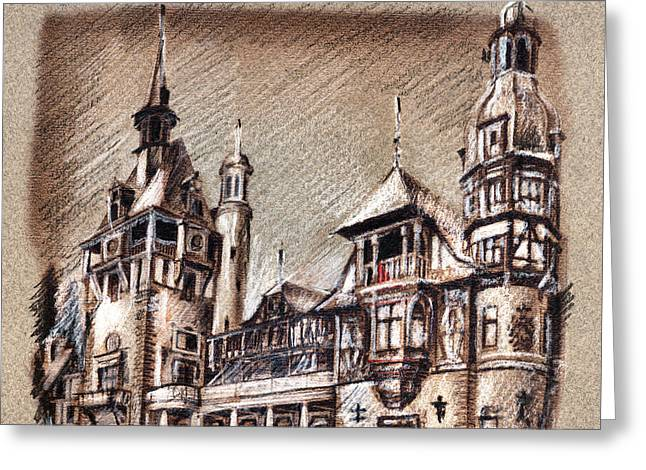 Peles Castle Romania Drawing Greeting Card