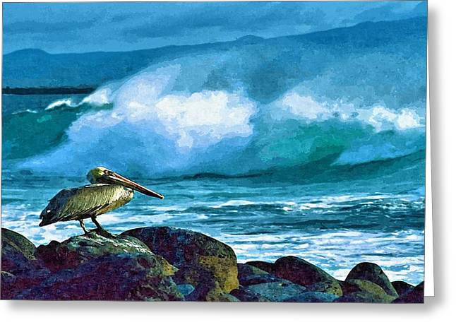 Pelican And Surf Greeting Card