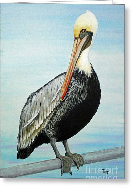 Greeting Card featuring the painting Pelican At The Marina  by Jimmie Bartlett
