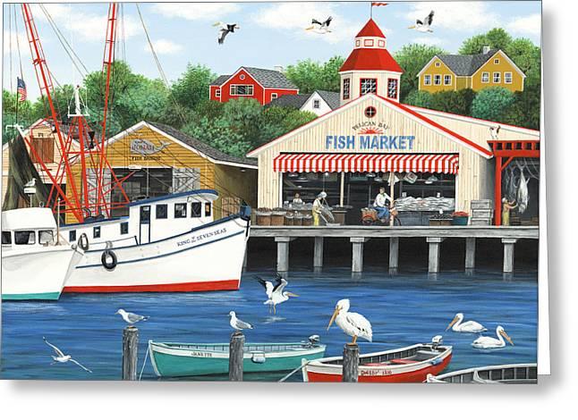 Pelican Bay Greeting Card by Wilfrido Limvalencia
