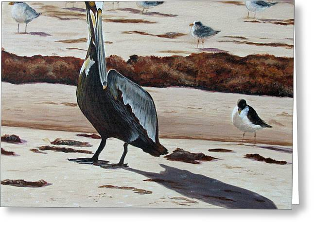 Greeting Card featuring the painting Pelican Beach by Jimmie Bartlett