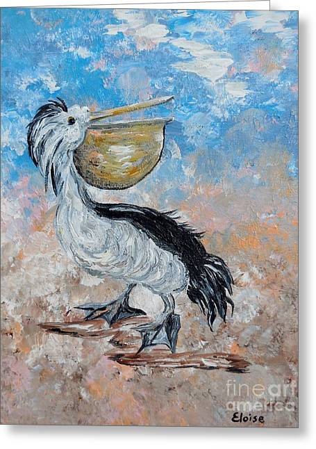 Pelican Beach Walk - Impressionist Greeting Card by Eloise Schneider