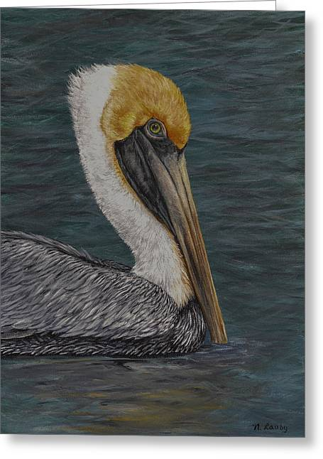 Pelican Floating In The Bay Greeting Card