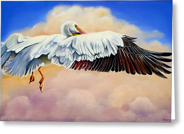Greeting Card featuring the painting Pelican In The Clouds by Phyllis Beiser