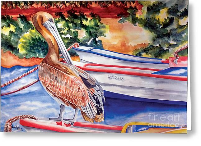 Pelican On A Ponga Greeting Card