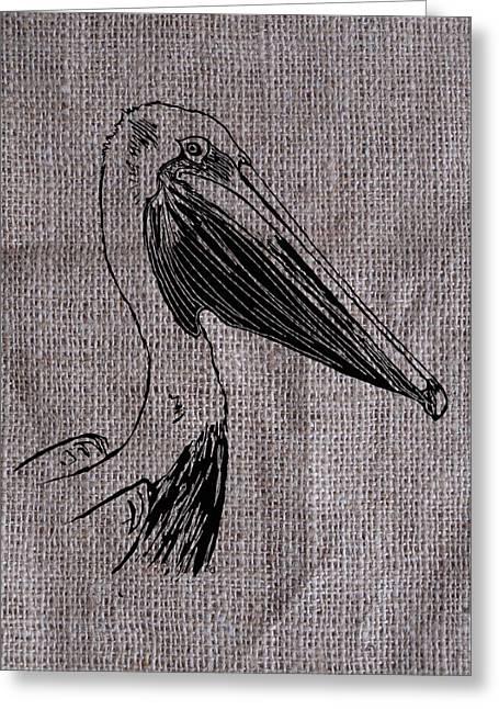 Pelican On Burlap Greeting Card