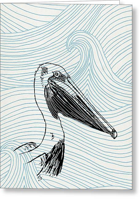 Pelican On Waves Greeting Card