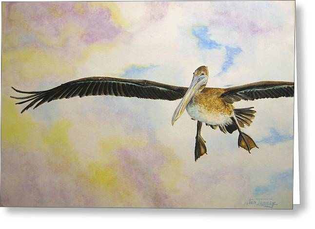 Greeting Card featuring the painting Pelican by Stan Tenney