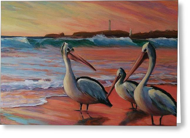 Pelican Sunset Greeting Card