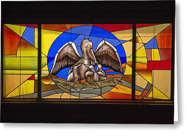 Pelicans Stained Glass Greeting Card by Sally Weigand