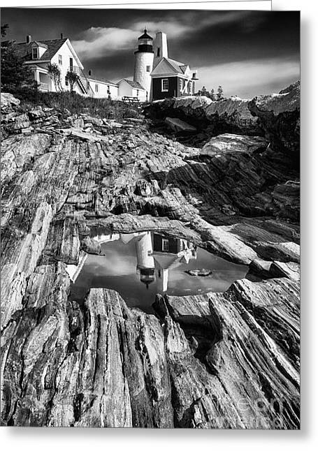 Pemaquid Light Reflections Greeting Card by George Oze