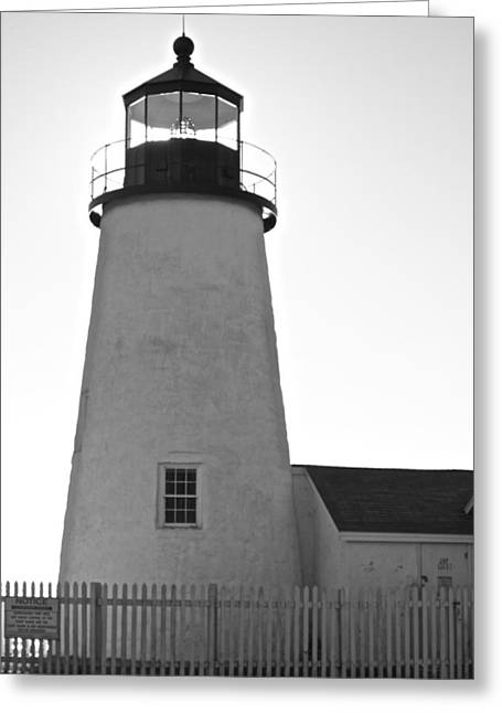 Greeting Card featuring the photograph Pemaquid Lighthouse Black And White by Amazing Jules