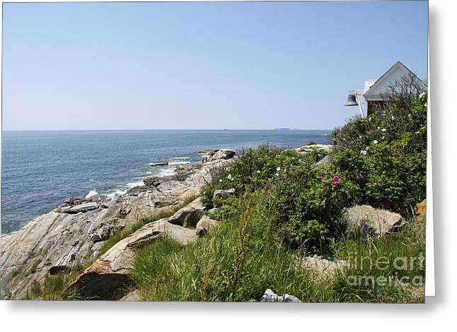 Pemaquid Neck With Lighthouse Bell Tower Greeting Card