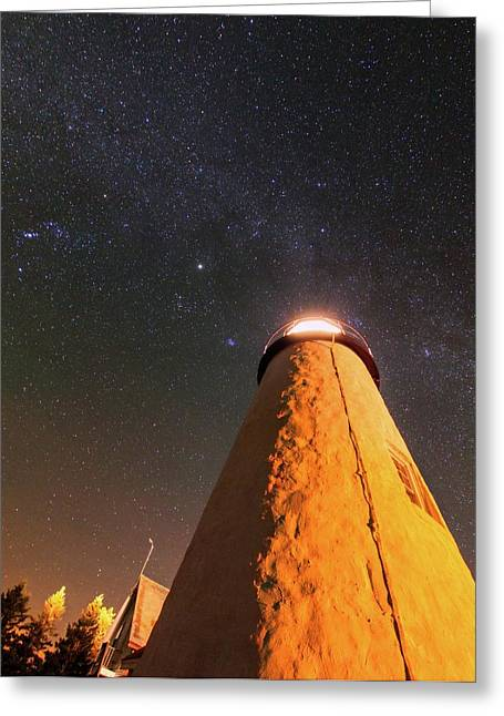 Pemaquid Point Lighthouse And Night Sky Greeting Card by Babak Tafreshi