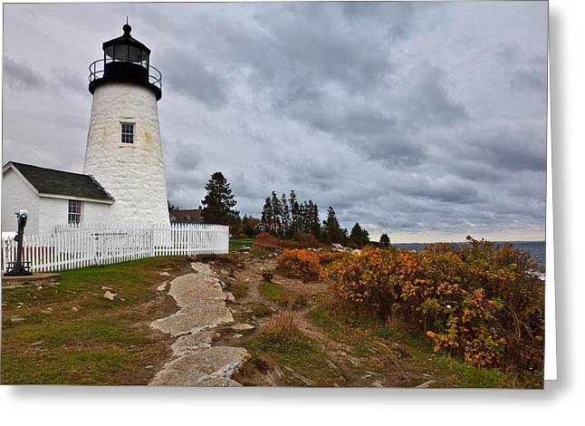 Stormy Autumn Day At Pemaquid Point Lighthouse Greeting Card