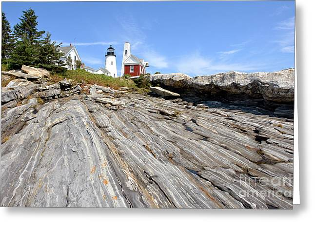 Maine Shore Greeting Cards - Pemaquid Point Lighthouse in Maine Greeting Card by Olivier Le Queinec