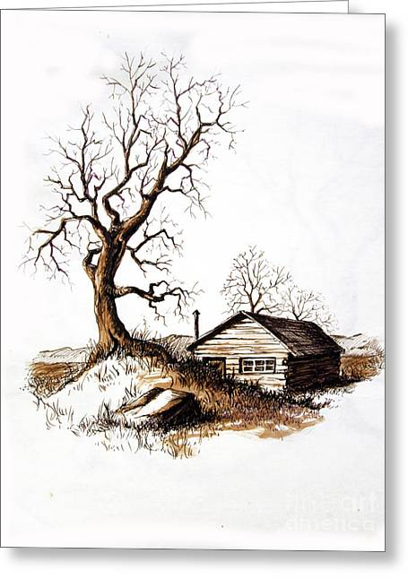 Greeting Card featuring the drawing Pen And Ink 1 by Carol Hart