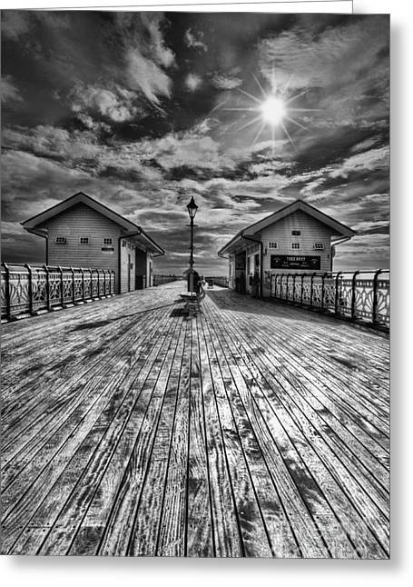 Penarth Pier 2 Monochrome Greeting Card by Steve Purnell